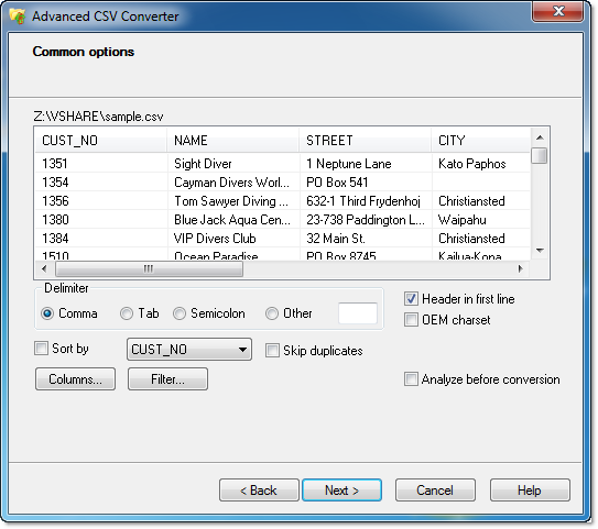 CSV Converter to XLS, XLSX,DBF, XML, HTML, SQL and more