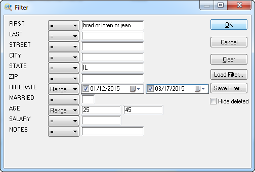 filter in dbf file