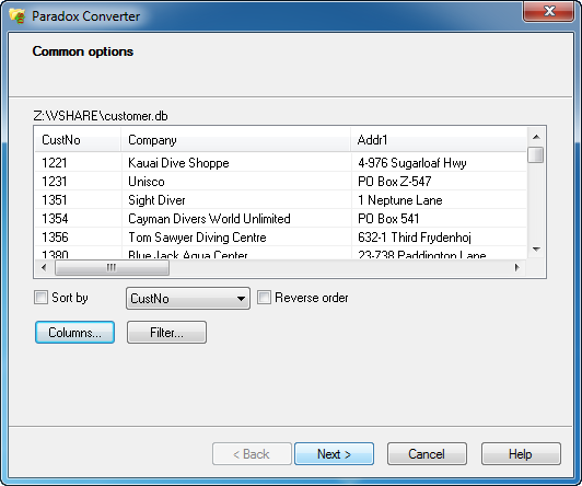 Convert Paradox files into XLS, XML, CSV, TXT, HTML, RTF, SQL and more.